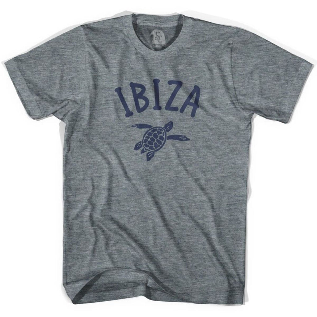 Ibiza Beach Sea Turtle Youth Tri-Blend T-shirt - Athletic Grey / Youth X-Small - Turtle T-shirts