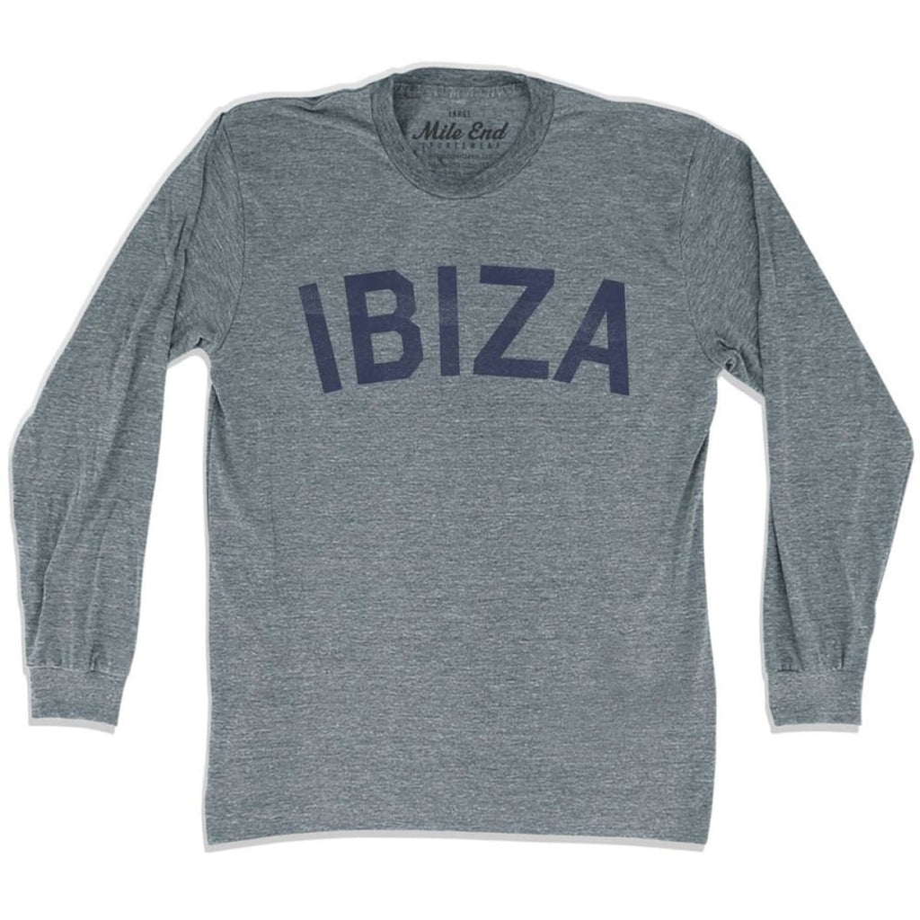 Ibiza City Vintage Long Sleeve T-shirt - Athletic Grey / Adult X-Small - Mile End City