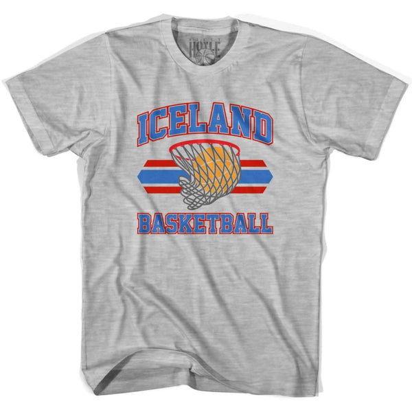 Iceland 90s Basketball T-shirts - Grey Heather / Youth X-Small - Basketball T-shirt