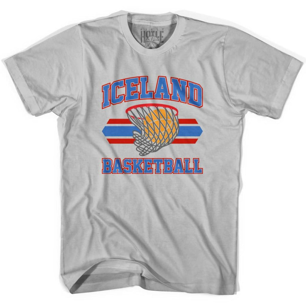 Iceland 90s Basketball T-shirts - Silver / Youth X-Small - Basketball T-shirt