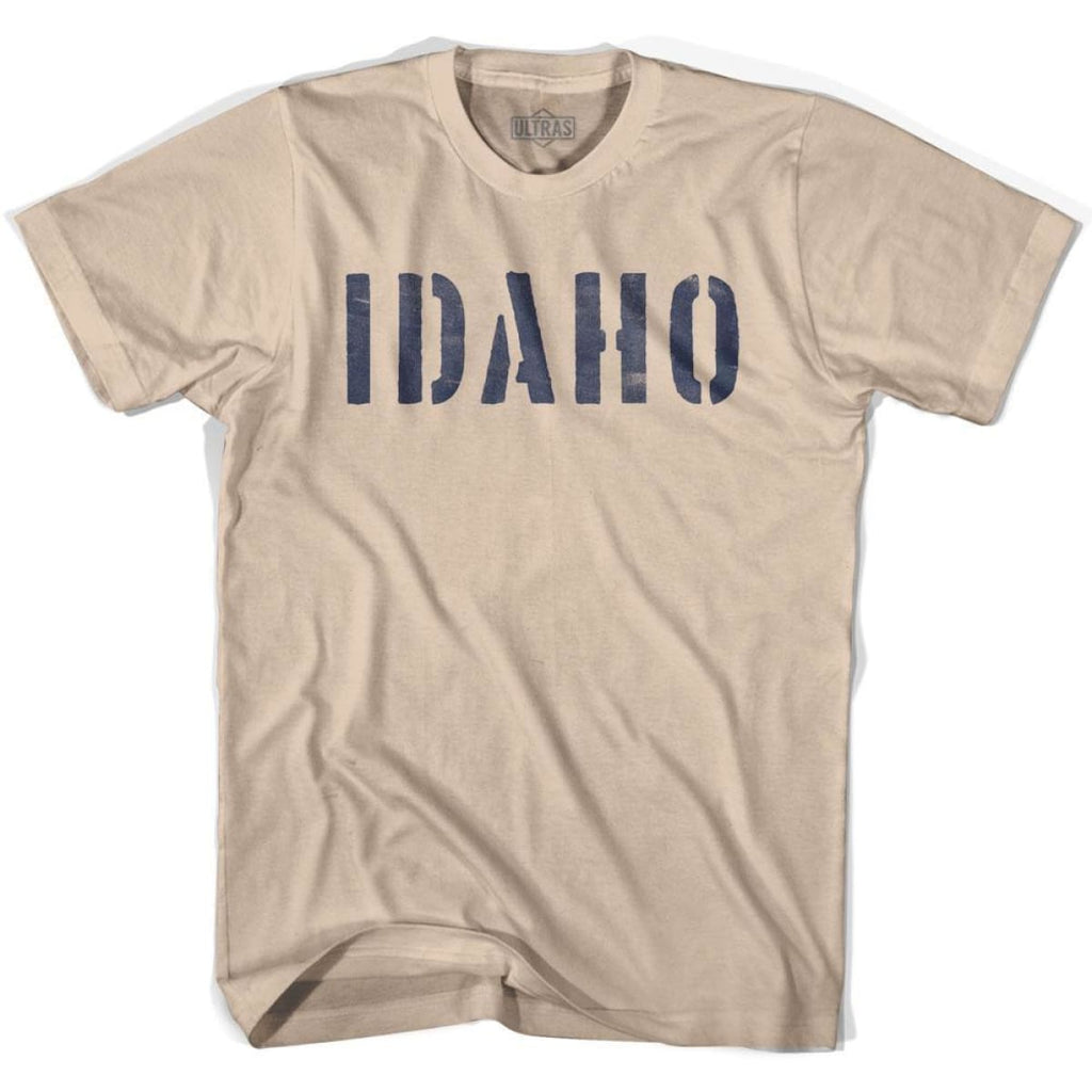 Idaho State Stencil Adult Cotton T-shirt - Creme / Adult Small - Stencil State