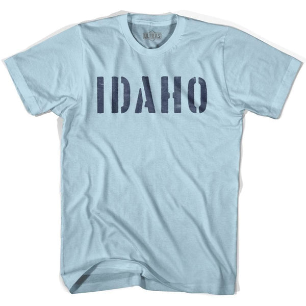 Idaho State Stencil Adult Cotton T-shirt - Light Blue / Adult Small - Stencil State