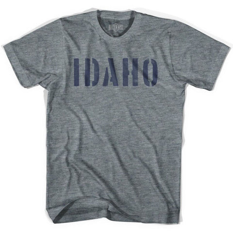 Idaho State Stencil Adult Tri-Blend T-shirt - Athletic Grey / Adult X-Small - Stencil State