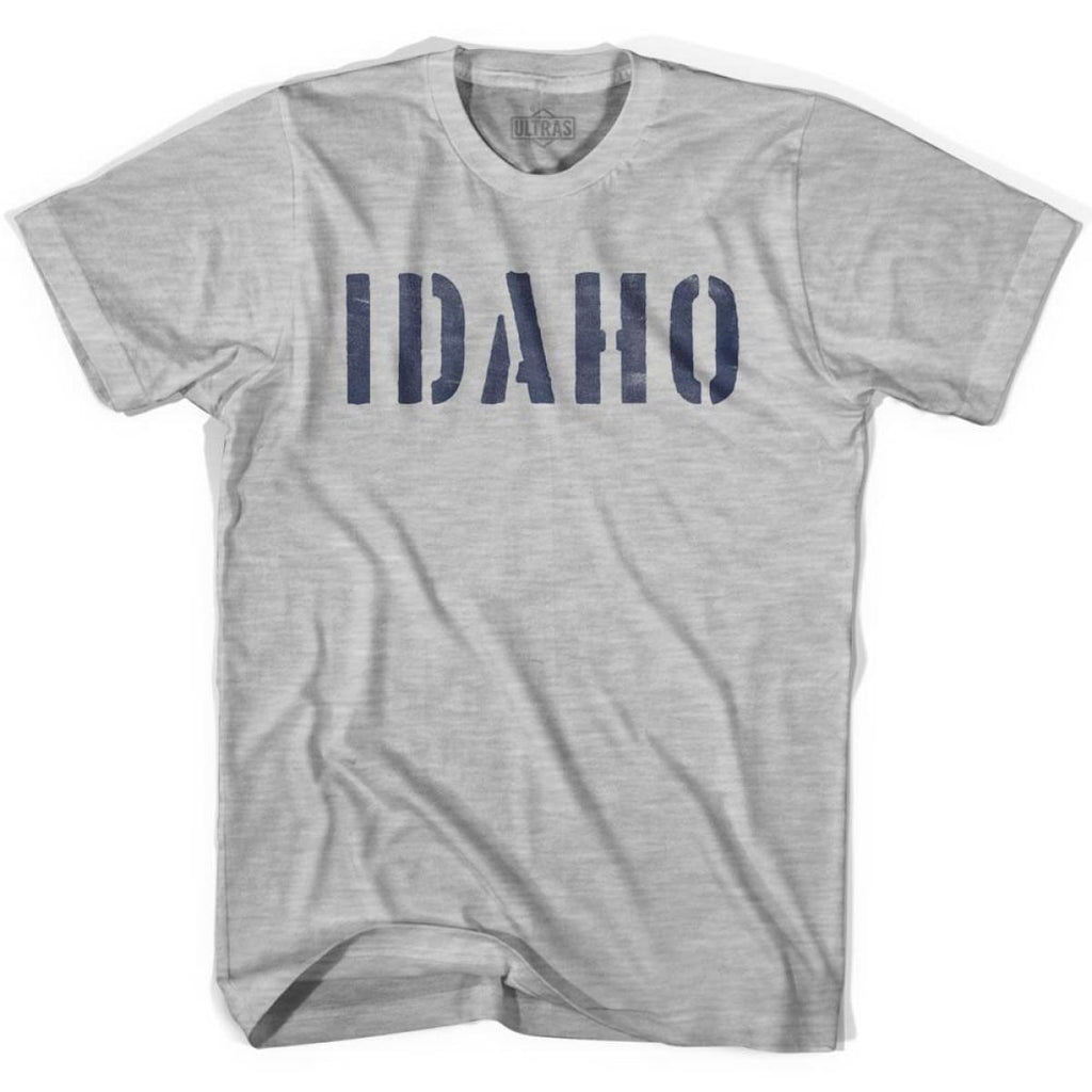Idaho State Stencil Youth Cotton T-shirt - Grey Heather / Youth X-Small - Stencil State
