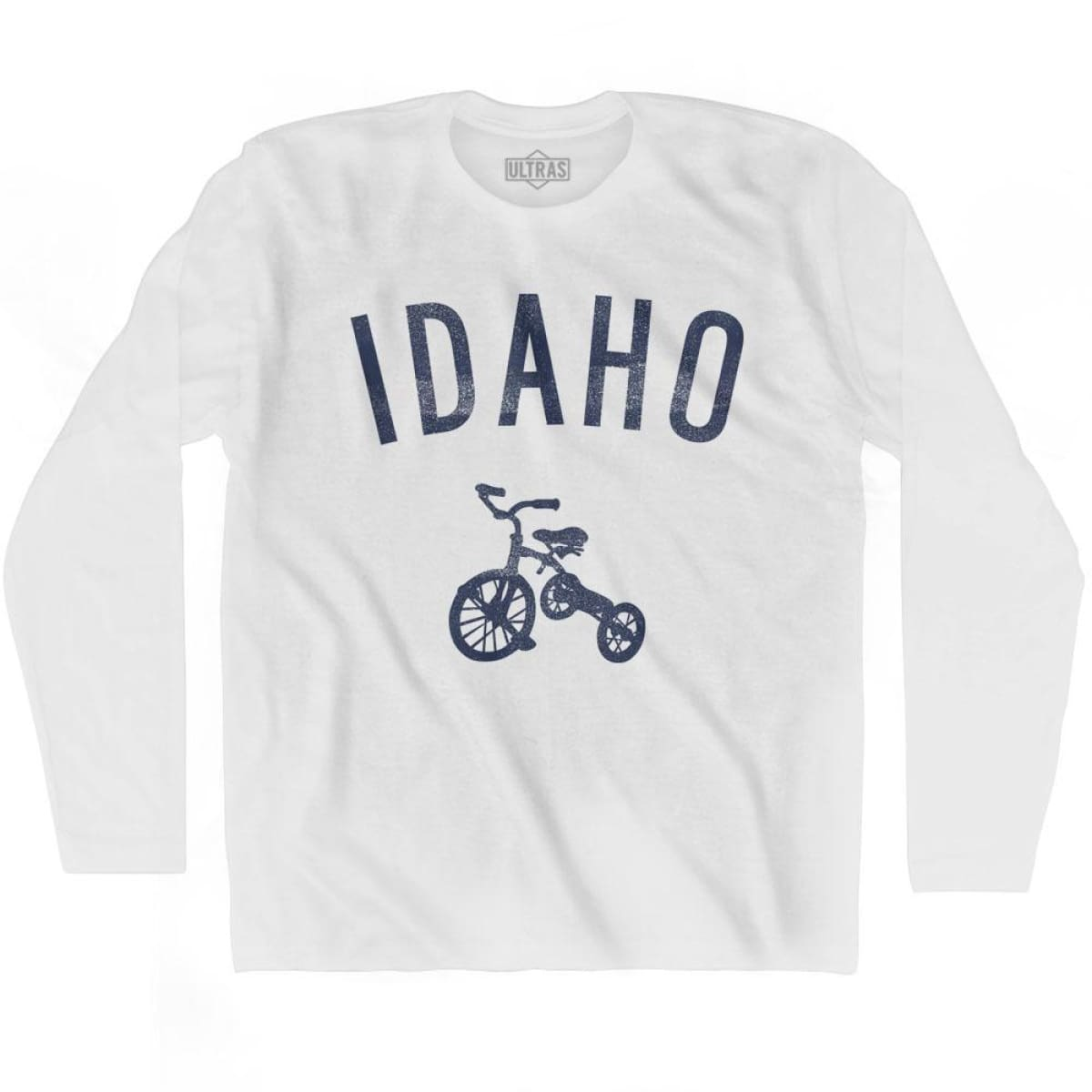 Idaho State Tricycle Adult Cotton Long Sleeve T-shirt - White / Adult Small - Tricycle State