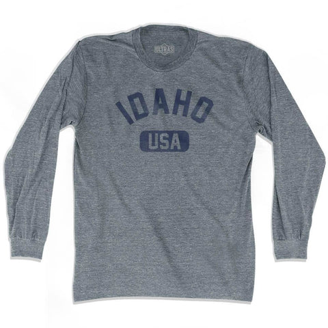 Idaho USA Adult Tri-Blend Long Sleeve T-shirt - Athletic Grey / Adult Small - USA State