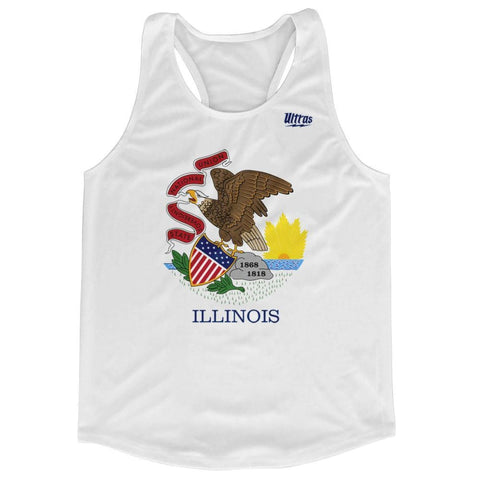 Illinois State Flag Running Tank Top Racerback Track and Cross Country Singlet Jersey - White / Adult X-Small - Running Top