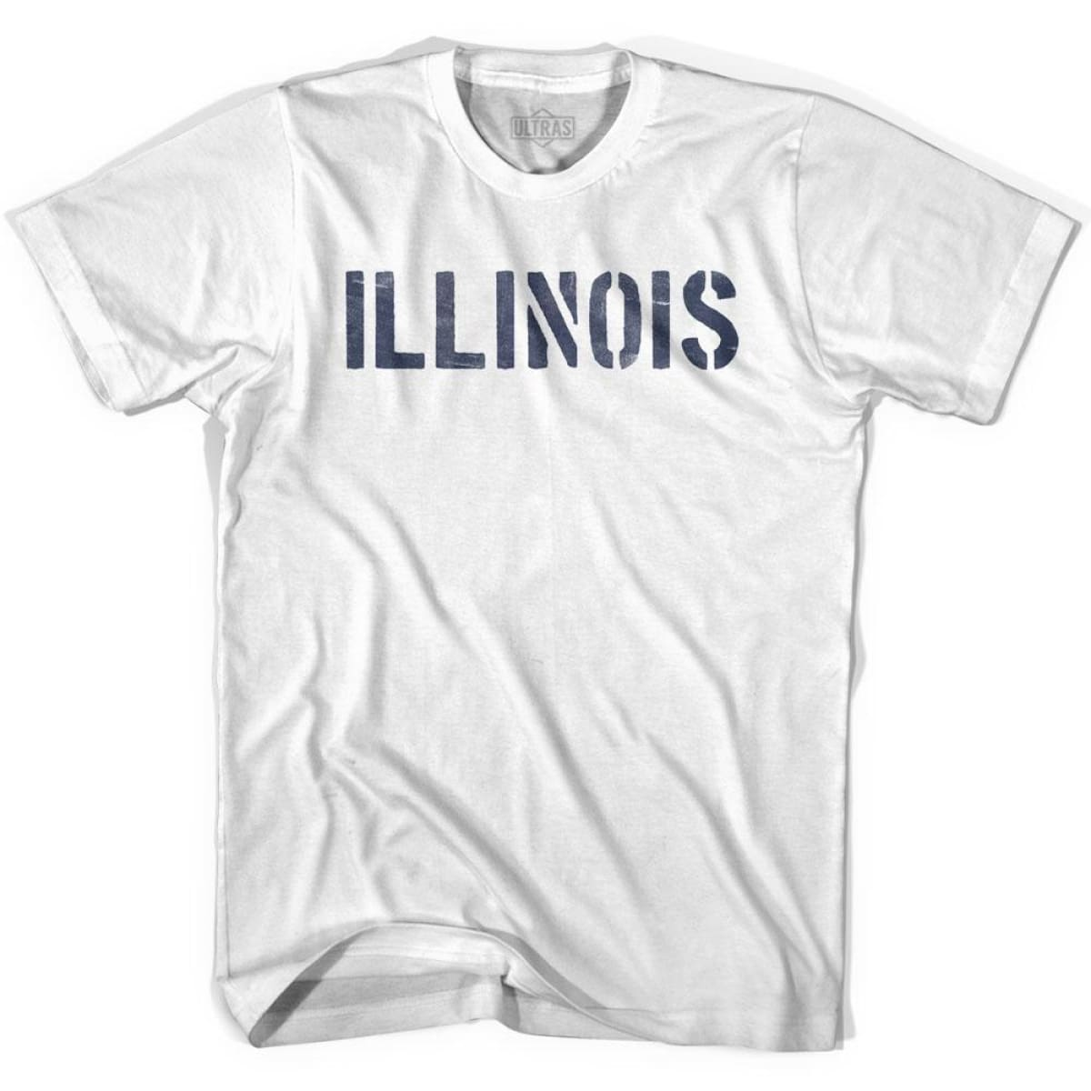 Illinois State Stencil Adult Cotton T-shirt - White / Adult Small - Stencil State