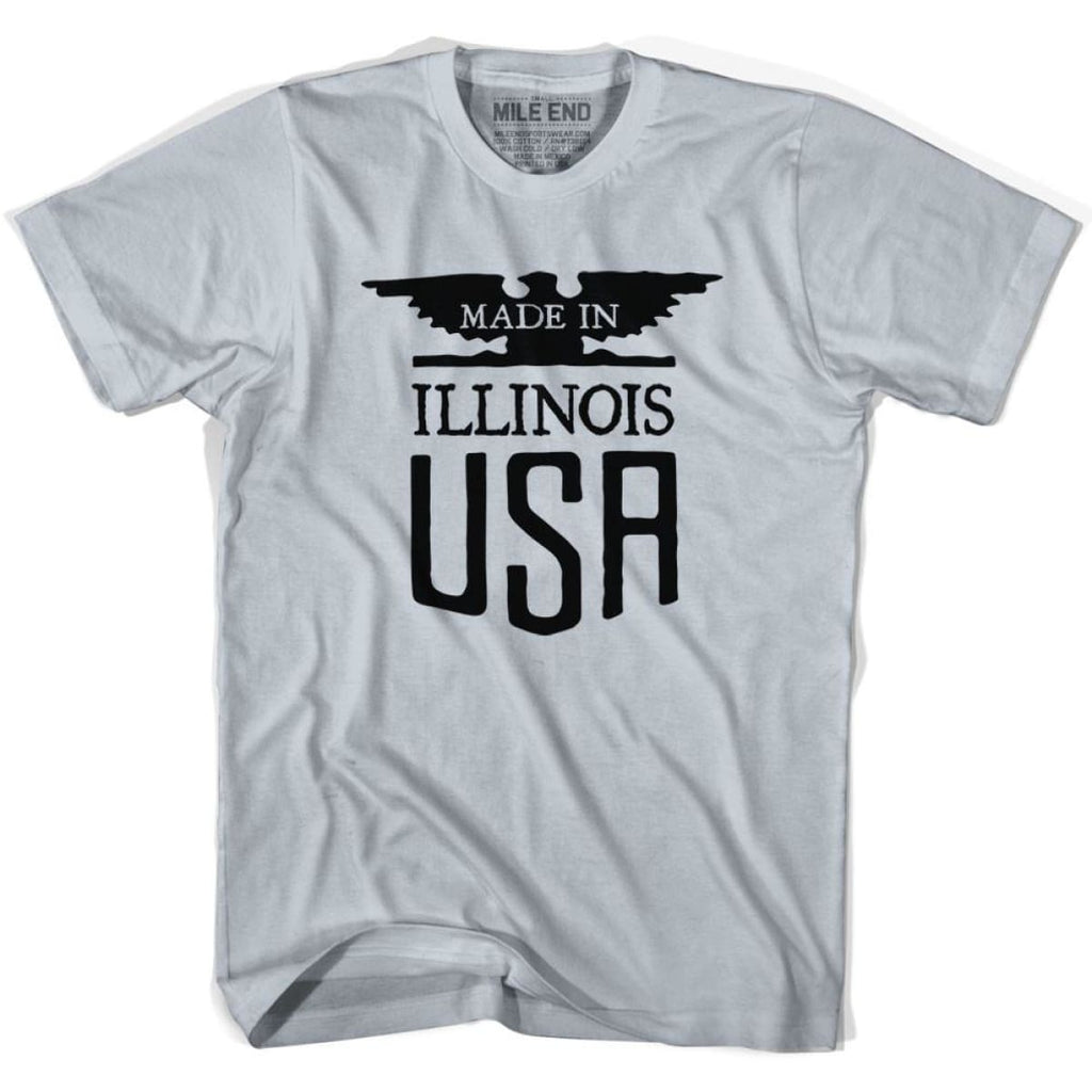 Illinois Vintage Eagle T-shirt - Cool Grey / Youth X-Small - Made in Eagle