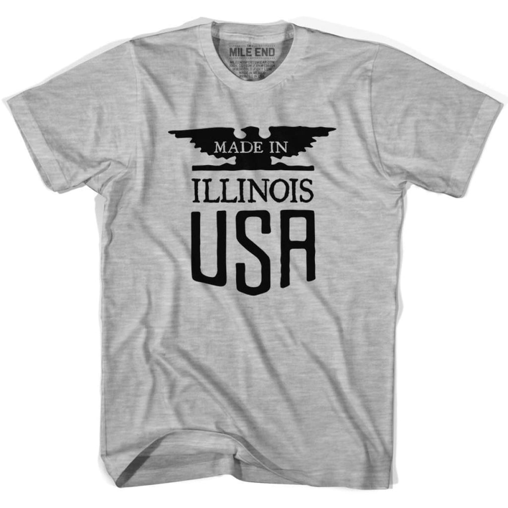 Illinois Vintage Eagle T-shirt - Grey Heather / Youth X-Small - Made in Eagle