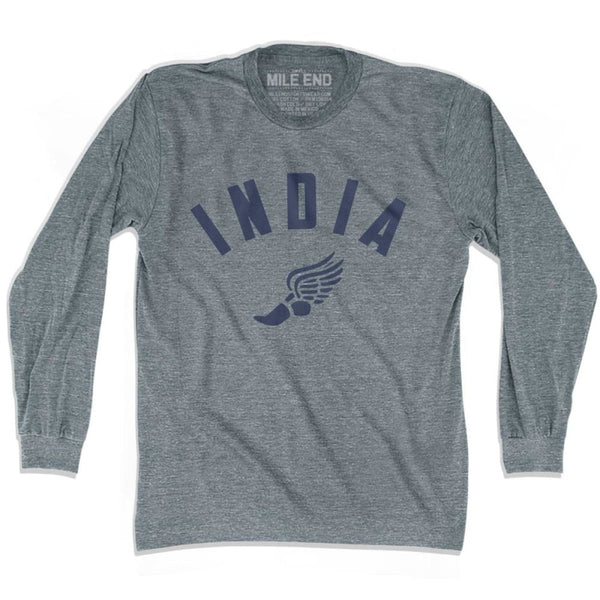 India Track Long Sleeve T-shirt - Athletic Grey / Adult X-Small - Mile End Track