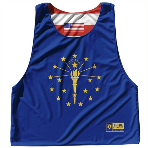 Indiana State Flag and American Flag Reversible Lacrosse Pinnie - Navy / Adult Small / No - Lacrosse Pinnies