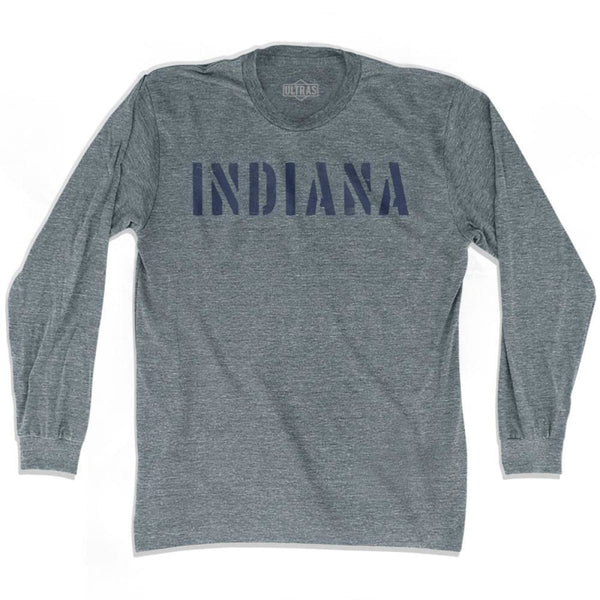 Indiana State Stencil Adult Tri-Blend Long Sleeve T-shirt - Athletic Grey / Adult Small - Stencil State