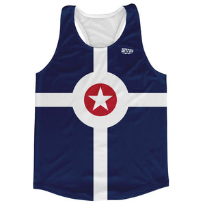 Indianapolis City Flag Running Tank Top Racerback Track and Cross Country Singlet Jersey by Ultras