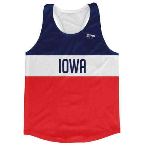 Iowa Finish Line Running Tank Top Racerback Track and Cross Country Singlet Jersey - Blue White Red / Adult X-Small - Running Top