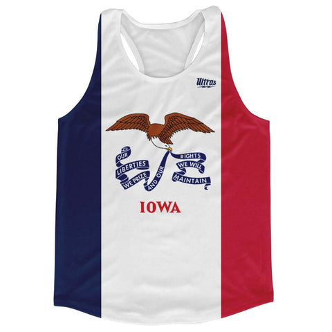 Iowa State Flag Running Tank Top Racerback Track and Cross Country Singlet Jersey - Blue White & Red / Adult X-Small - Running Top
