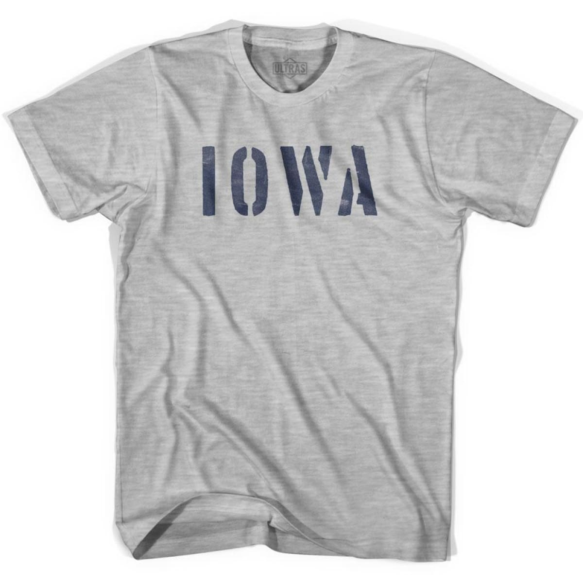 Iowa State Stencil Adult Cotton T-shirt - Grey Heather / Adult Small - Stencil State
