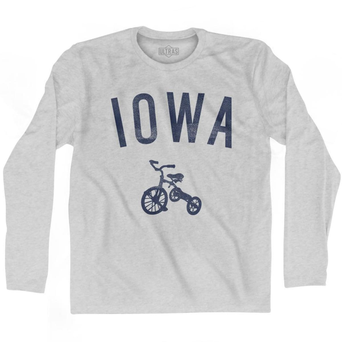 Iowa State Tricycle Adult Cotton Long Sleeve T-shirt - Grey Heather / Adult Small - Tricycle State