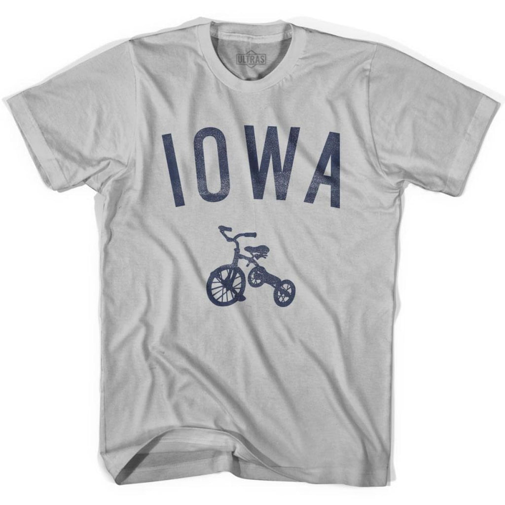 Iowa State Tricycle Adult Cotton T-shirt - Cool Grey / Adult Small - Tricycle State