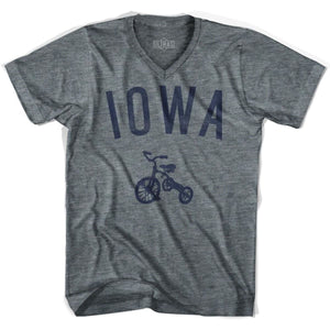 Iowa State Tricycle Adult Tri-Blend V-neck Womens T-shirt - Athletic Grey / Womens Small - Tricycle State