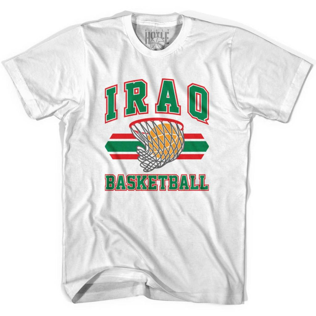 Iraq Basketball 90s Basketball T-shirt - White / Youth X-Small - Basketball T-shirt