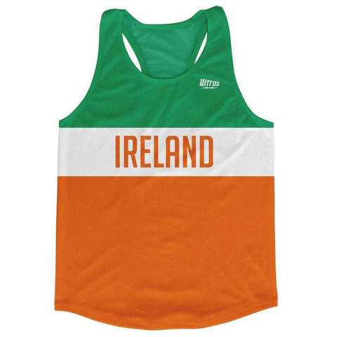 Ireland Country Finish Line Running Tank Top Racerback Track and Cross Country Singlet Jersey - Green White Orange / Adult X-Small - Running