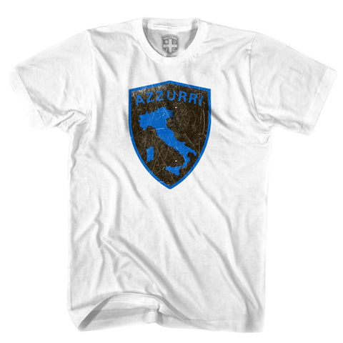 Italy Azzurri Crest T-shirt - White / Youth X-Small - Ultras Soccer T-shirts