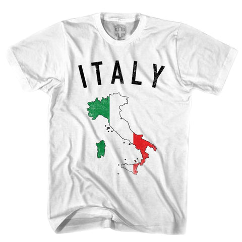 Italy Flag & Country T-shirt - White / Youth X-Small - Ultras Soccer T-shirts