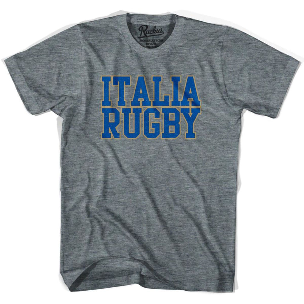 Italy Italia Rugby Nations T-shirt - Athletic Grey / Adult Small - Rugby T-shirt