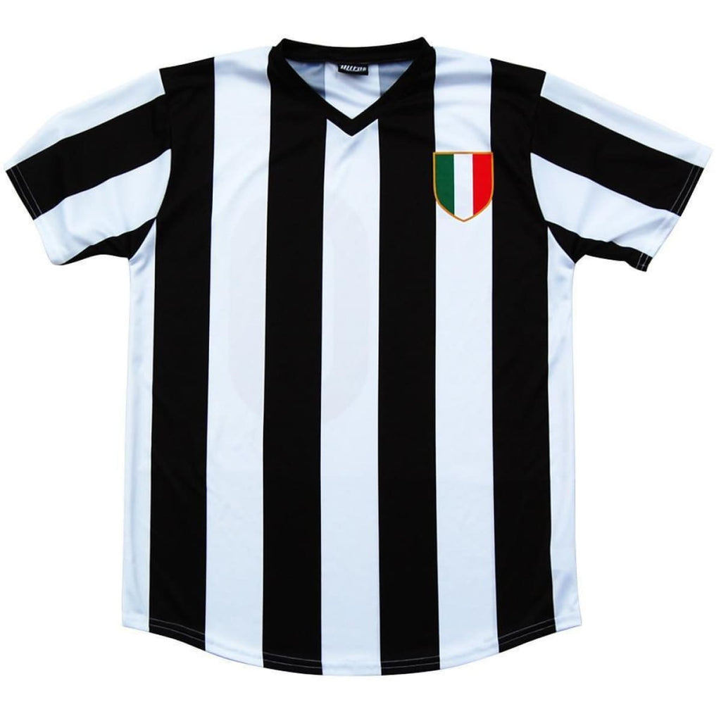 Juventus Retro #10 Soccer Jersey - Black and White / Adult Small / No - Ultras City Soccer Jerseys