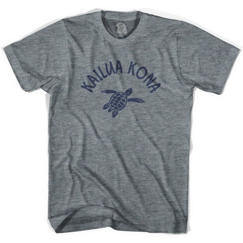 Kailua Kona Beach Sea Turtle Adult Tri-Blend T-shirt - Athletic Grey / Adult X-Small - Turtle T-shirts