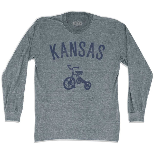 Kansas State Tricycle Adult Tri-Blend Long Sleeve T-shirt - Athletic Grey / Adult Small - Tricycle State