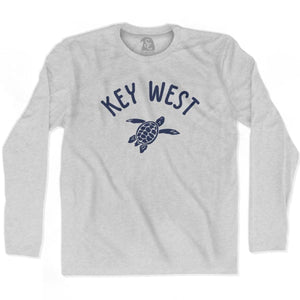 Key West Beach Sea Turtle Adult Cotton Long Sleeve T-shirt - Grey Heather / Adult Small - Turtle T-shirts