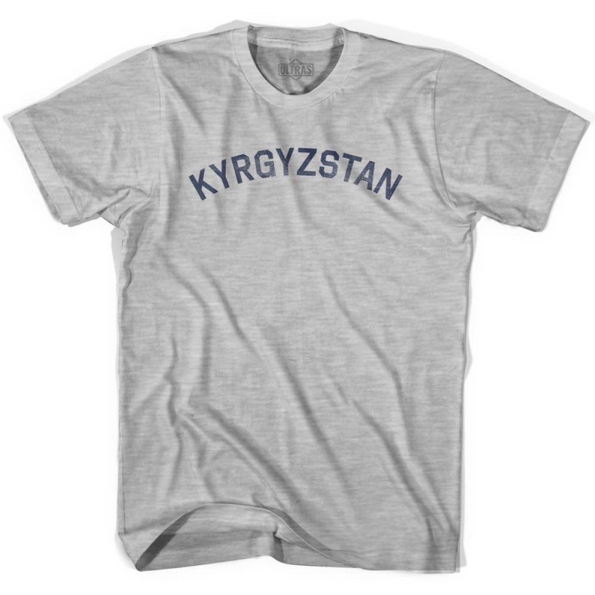 Kyrgyzstan Vintage City Adult Cotton T-shirt - Grey Heather / Adult Small - Asian Vintage Country