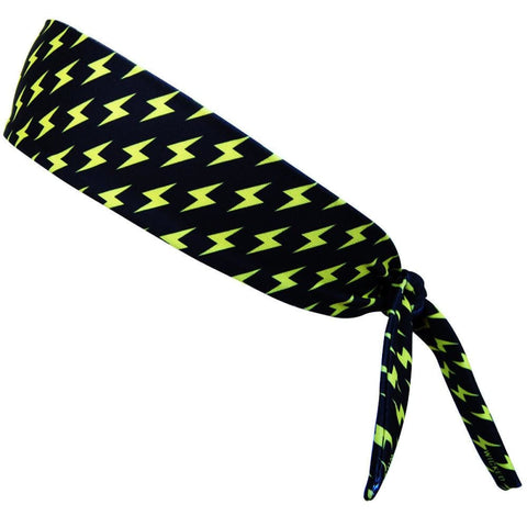 Lightning Bolts Yellow and Black Elastic Tie Headband - Black and Yellow / One Size - Wicked Headbands