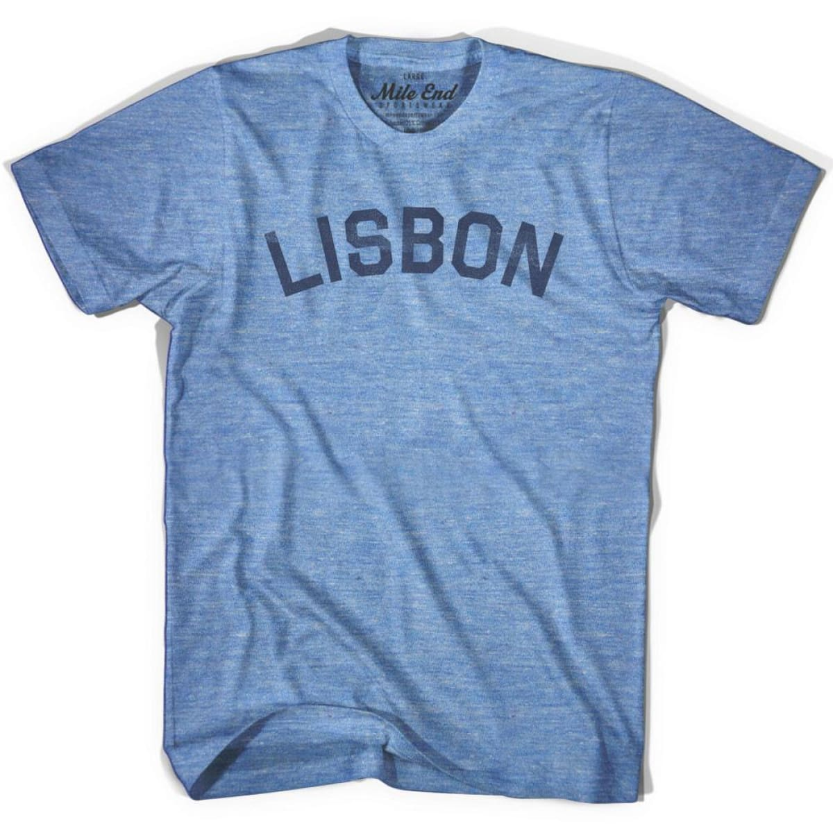 Lisbon City Vintage T-shirt - Athletic Blue / Adult X-Small - Mile End City