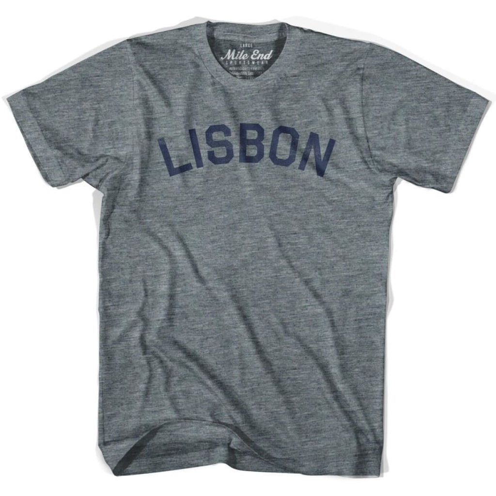 Lisbon City Vintage T-shirt - Athletic Grey / Adult X-Small - Mile End City