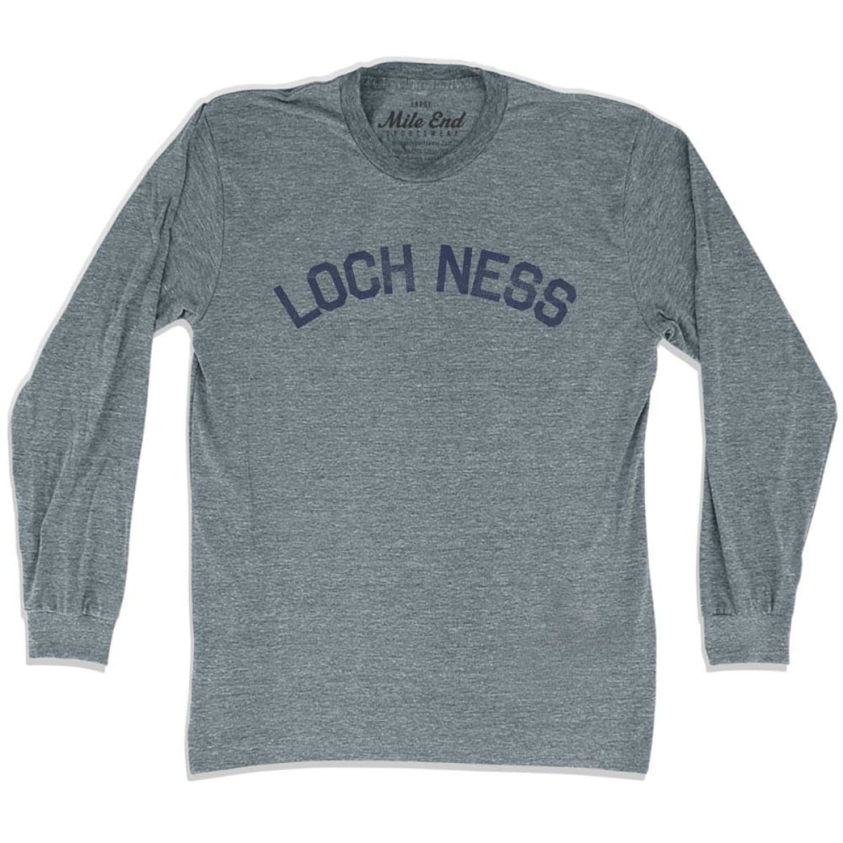 Loch Ness City Long Sleeve Vintage T-shirt - Athletic Grey / Adult X-Small - Mile End City