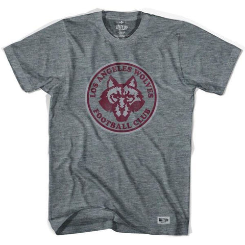 Los Angeles Wolves Vintage Soccer T-shirt - Athletic Grey / Adult Small - Ultras Vintage American Soccer T-shirts