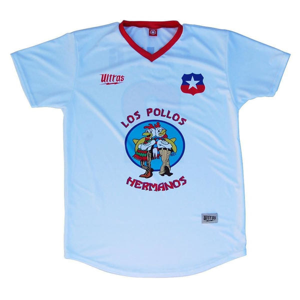 Los Pollos Hermanos Fring Soccer Jersey - White / Youth X-Small / No - Ultras Culture Soccer Jerseys