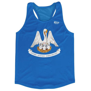 Louisiana State Flag Running Tank Top Racerback Track and Cross Country Singlet Jersey - Sky Blue / Adult X-Small - Running Top