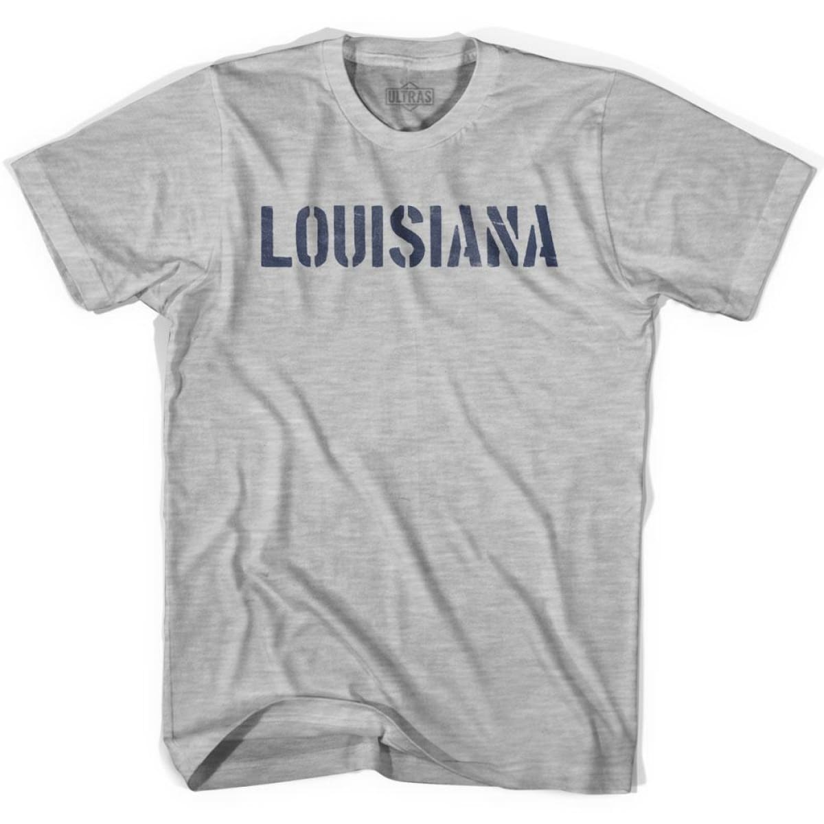 Louisiana State Stencil Youth Cotton T-shirt - Grey Heather / Youth X-Small - Stencil State