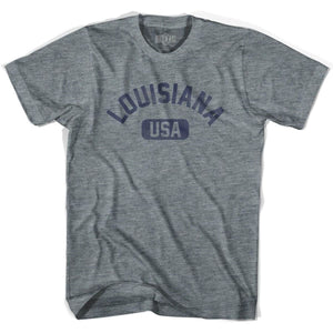Louisiana USA Adult Tri-Blend T-shirt - Athletic Grey / Adult X-Small - USA State