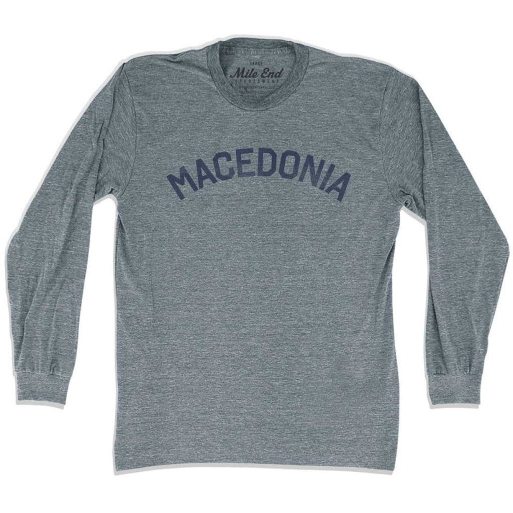 Macedonia City Vintage Long Sleeve T-shirt - Athletic Grey / Adult X-Small - Mile End City