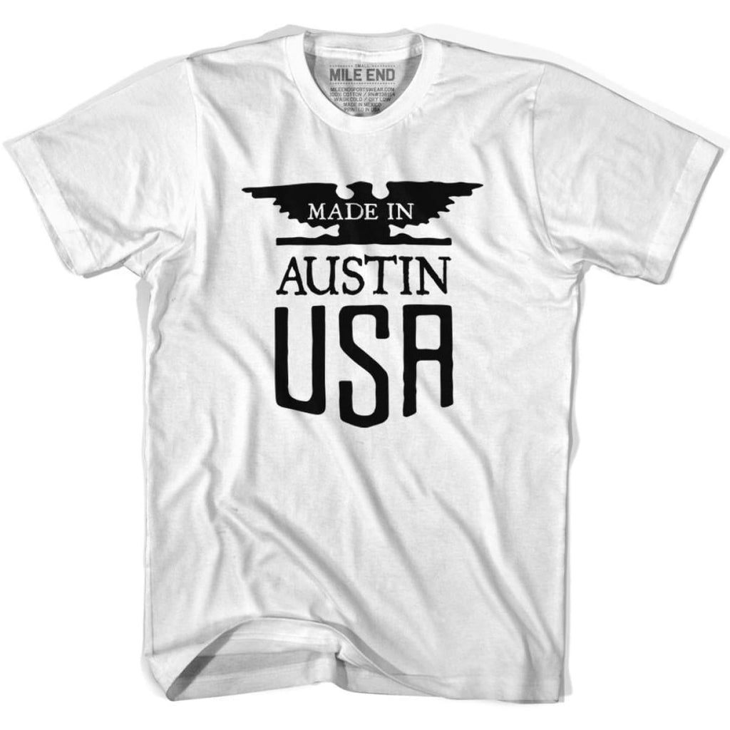 Made In USA Austin Vintage Eagle T-shirt - White / Youth X-Small - Made in Eagle