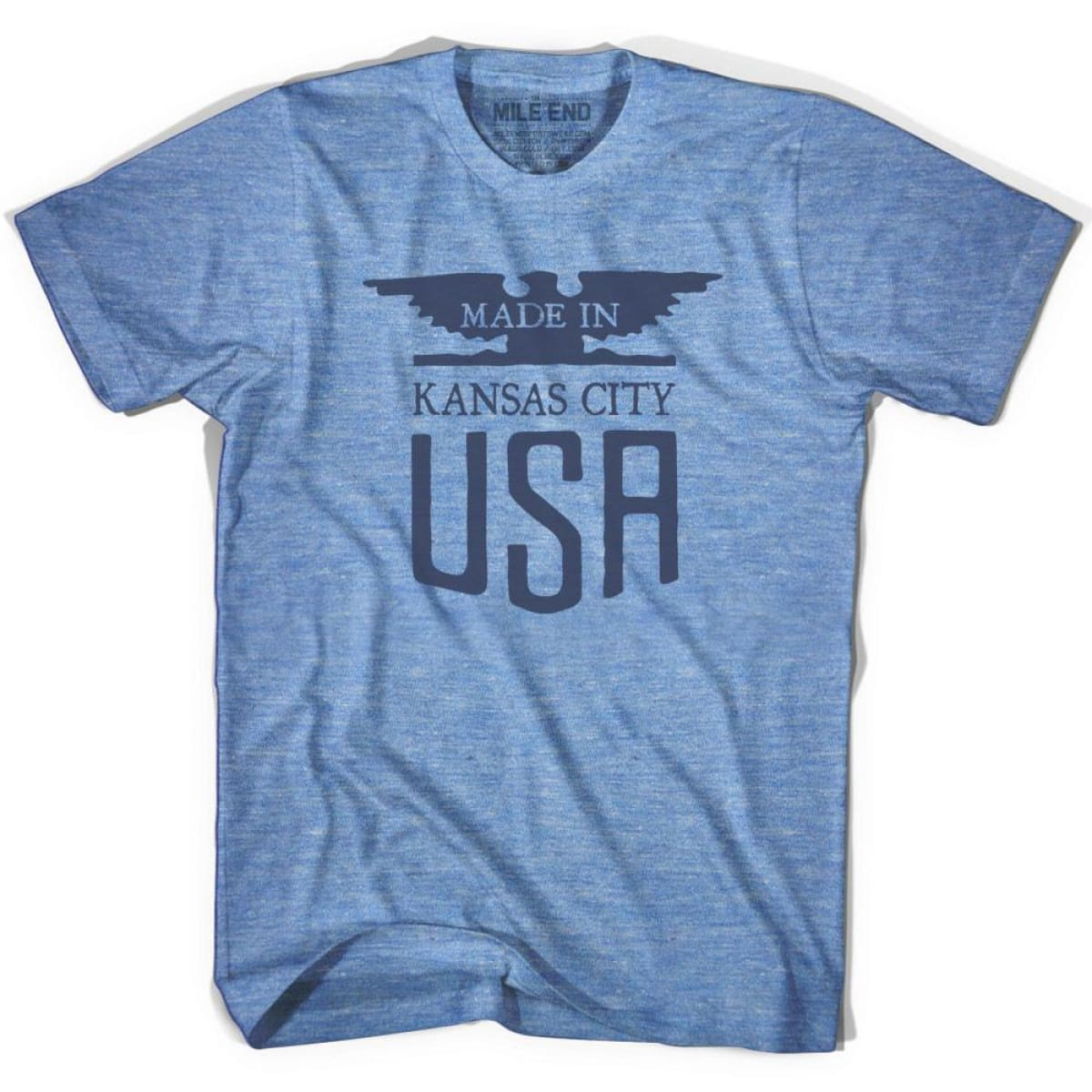 Made In USA Kansas Vintage Eagle T-shirt - Athletic Blue / Adult X-Small - Made in Eagle