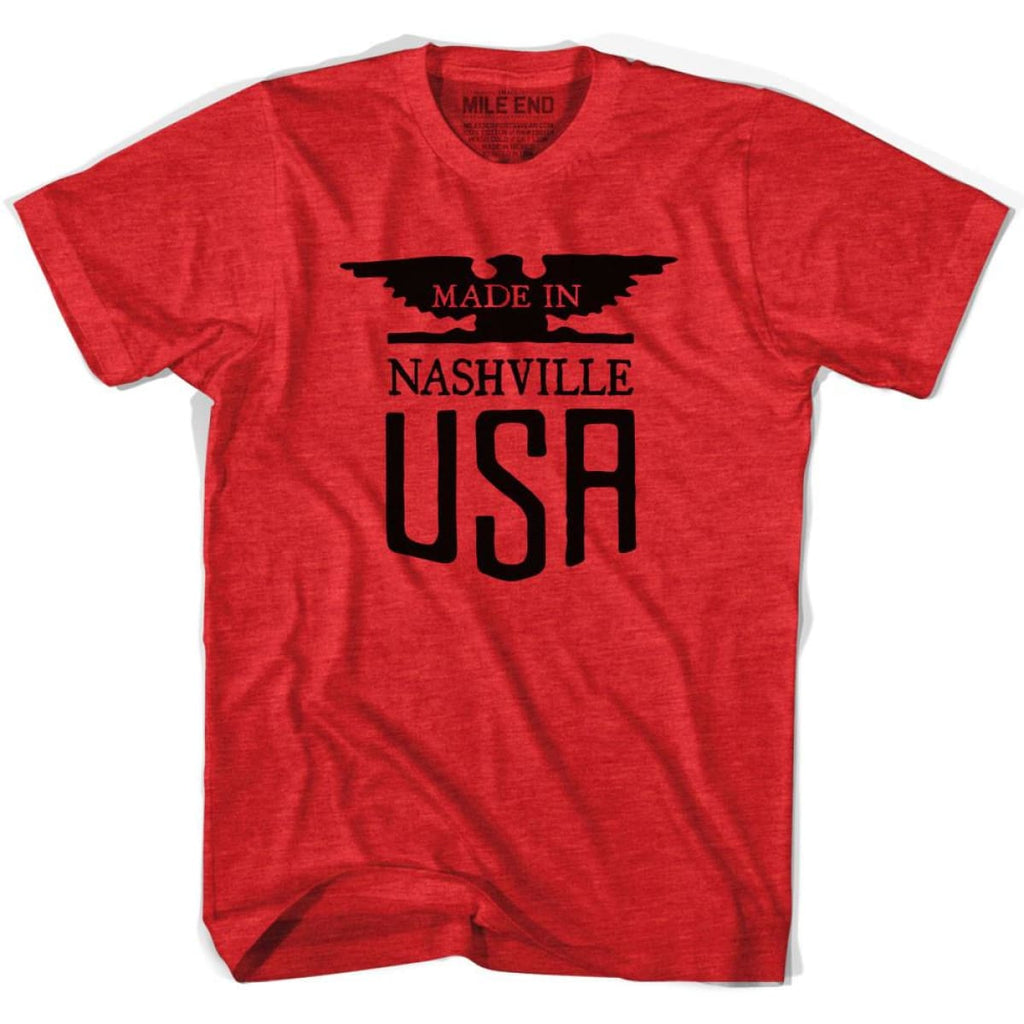 Made In USA Nashville Vintage Eagle T-shirt - Heather Red / Adult Small - Made in Eagle