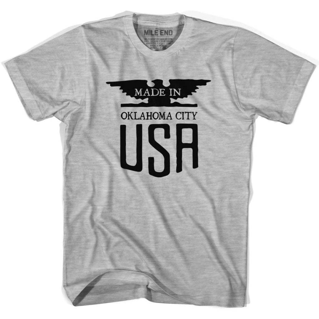 Made In USA Oklahoma Vintage Eagle T-shirt - Grey Heather / Youth X-Small - Made in Eagle