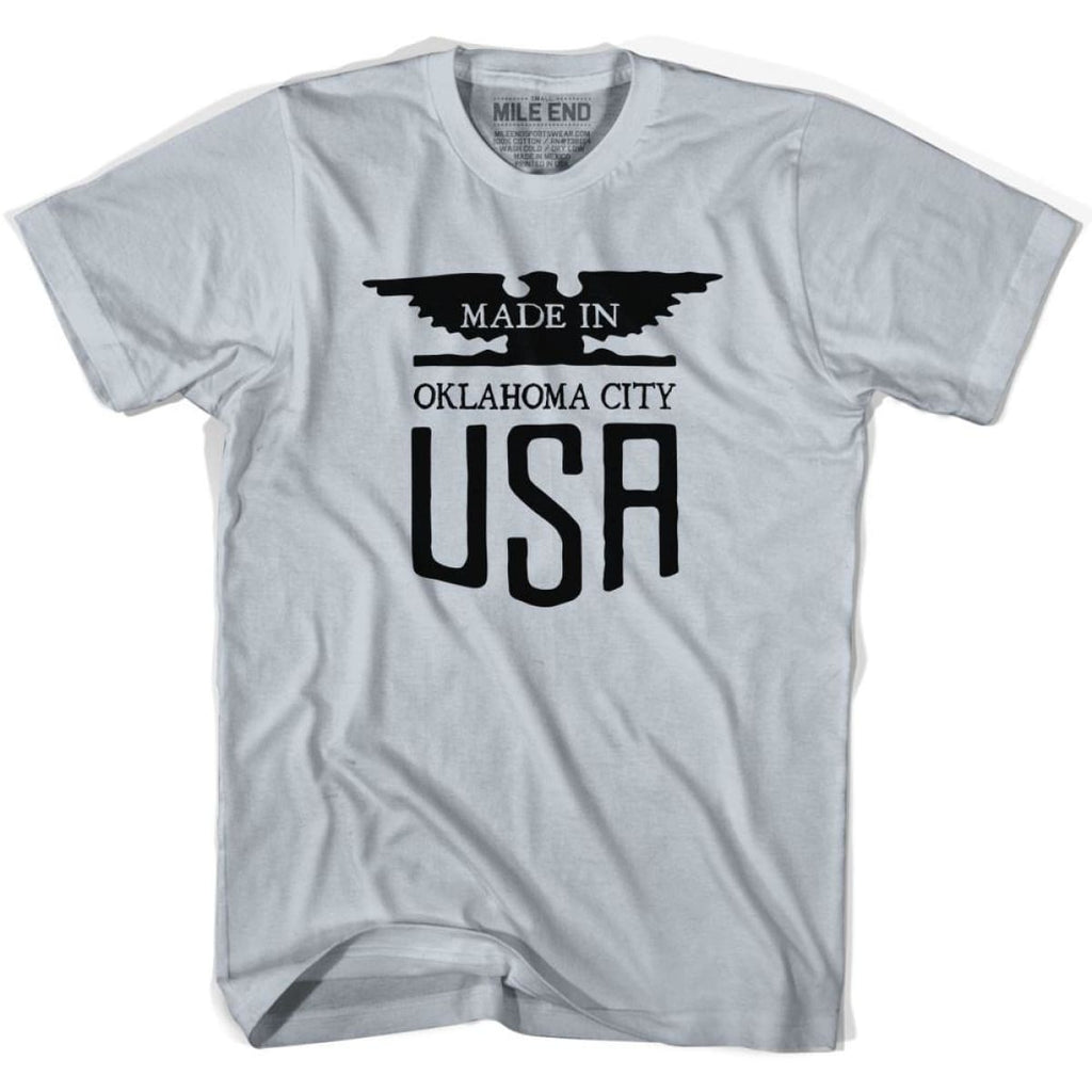 Made In USA Oklahoma Vintage Eagle T-shirt - Silver / Youth X-Small - Made in Eagle