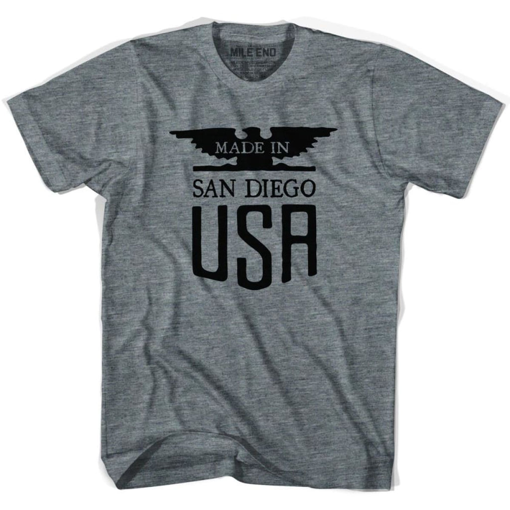 Made In USA San Diego Vintage Eagle T-shirt - Athletic Grey / Youth X-Small - Made in Eagle
